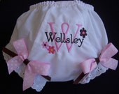 Personalized  Pink and Brown Diaper Cover