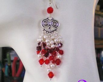 Crystal and Pearl Chandelier Earrings in Red and White, Red and White Holiday Earrings,Long Dangle Earrings