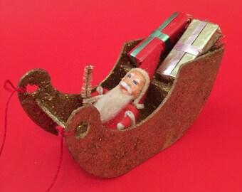 Vintage Santa in sleigh