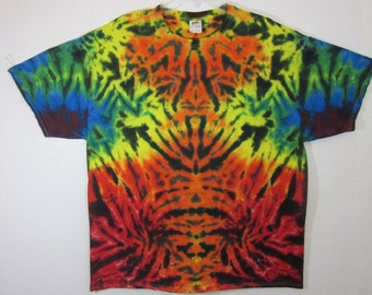 Tie Dye Unisex Size XXL Rainbow and Black Rorschach