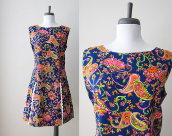 Vintage 1960s Romper / Mod Psychedelic Print Cotton Onesie Mini Dress Skort / Size Medium or Large