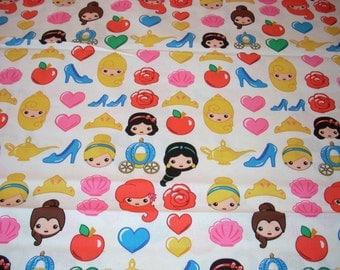 "Disney Princess Icons on white cotton Fabric  - Snow White, Cinderella, Belle, Aurora, Ariel, Jasmine  - 44"" wide - sold by the yard"