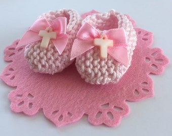 LAST ONE Girl baptism cake topper: mini knit pale pink booties, pink bows, blush pink mother of pearl (MOP) crosses, felt base - 2 inches