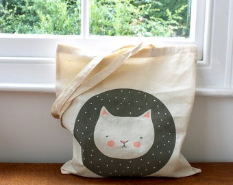 SALE 50% OFF  Tote bag - Screen printed -  Melancholicat