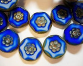 10 15mm Czech Glass Cobalt Blue and White Picasso Flower Coin Beads
