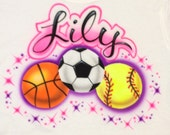 Airbrushed Soccer Basketball Softball T-Shirt w/ Name size S M L XL 2X Airbrushed T Shirt