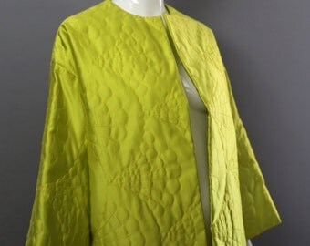 80s BILL BLASS Acid yellow neon silk quilted kimono jacket designer vintage 1980s
