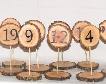 Table numbers ~ Standing Table Numbers 1-20 ~ Wood Table Numbers ~ Graduation Party ~ Woodland wedding ~ Wooden Table numbers