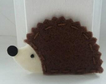 4 Handmade Felt Felties Hedgehog Appliques-Brown