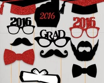 2016 Graduation Photo Booth Props Graduation PhotoBooth Portrait Glasses Class of 2016 Red Glitter Black Set of 12 Custom Colors Available