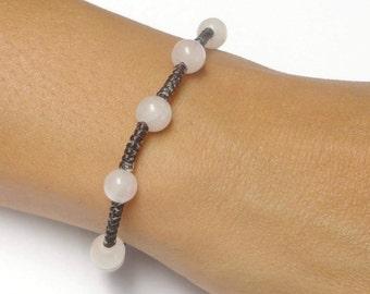 Rose Quartz Gemstone BEADED Macrame Jewelry Fair Trade Thai Wristband Bracelet