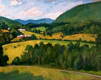 Summer Hillside, Berkshires. 18x24 Realist Oil on Canvas, American Impressionist Plein Air Landscape Painting, Signed Original Fine Art