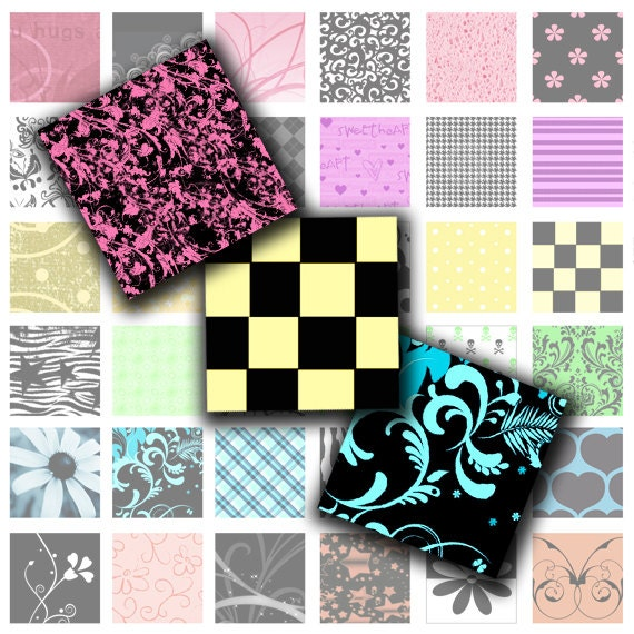 Rocker Girl - Digital Collage Sheet (No.177) - 1 Inch Square Tiles for Glass Pendants, Magnets, and More