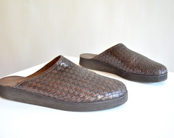 Vintage WOVEN leather mules / 7.5