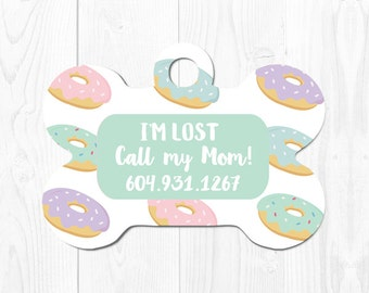 Dog Tag for Dogs Pet ID Tag Pet Gift Dog ID Tag Pet Tags Custom Pet Tag Custom Dog Tag Doughnut Dog Tag Dog Tag ID Pink Cute Dog Tag