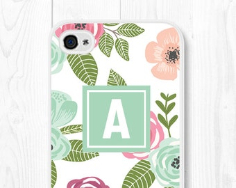 iPhone 6s Case iPhone 6 Case Floral Phone Case Monogram iPhone 5s Case Samsung Galaxy S6 Case Initial Phone Case Custom iPhone 6 Plus Case