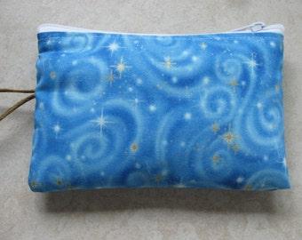 sky blue celestial padded makeup jewelry bag