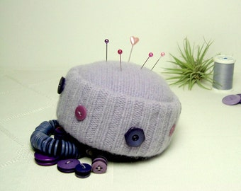 Pincushion Lavender Purple Handmade Wool Buttons Pinkeep Sewing