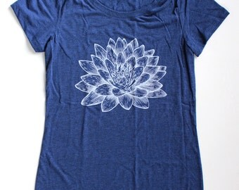 Lotus Flower WOMENS T-Shirt  Available in S M L XL and four shirt colors  -  buddhism hinduism zen yoga