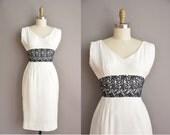 50s white cottn linen floral vintage wiggle dress / vintage 1950s dress