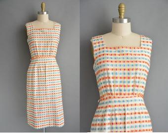 Serbin 50s cotton textured vintage wiggle dress / vintage 1950s dress