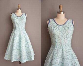 50s aqua blue floral cotton vintage dress / vintage 1950s dress