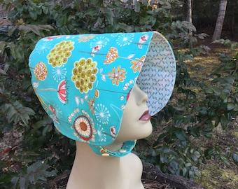 Toddler Sun Hat - BONNET - Sun Hat - Reversible Bonnet - Blue