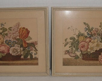 Two Vintage  Floral Pictures in Original Frames