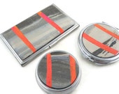 Colorful accessory set for purse card case, pill box and compact mirror