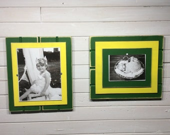 "Green and Yellow picture frame holds 5""x7"" or 8""x10"" John Deere colors"