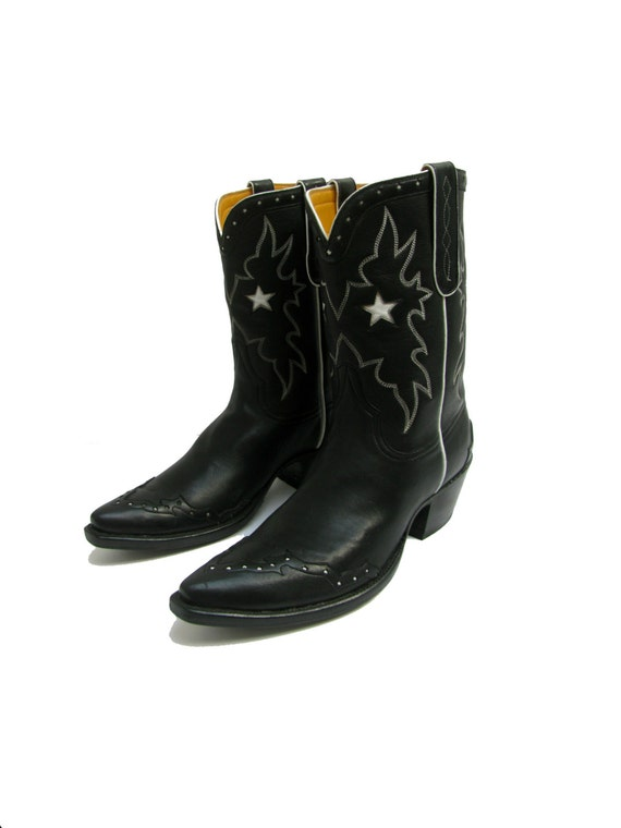 vintage womens cowboy boots custom made black with white