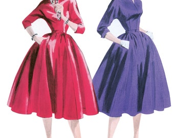 Pick Your Size - Butterick Retro Dress Pattern B5556 - Misses' 1955 Vintage Style Fit and Flare Dress with Two Collar Options & Belt