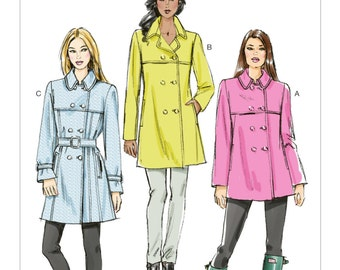 Sz 6/8/10/12/14 - Vogue Coat Pattern V8884 - Misses' Double-Breasted Trench Coats and Belt - Vogue Patterns