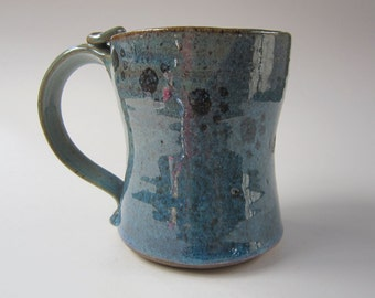 Stoneware Coffee Mug - Ceramic Coffee Mug - Blue Green with Paw Prints Pottery Clay 16 ounces