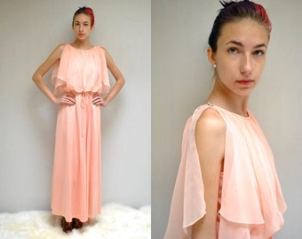 70s Bridesmaid Dress  //  Peach Chiffon Dress  //  THE PECHE