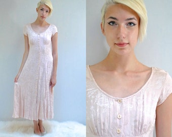 Long Blush Dress  //  90s Rayon Dress  //  90s does 40s Dress  //  CHAMPAGNE ROSE