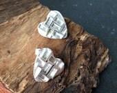 Sterling silver handmade heart earrings, hallmarked in Edinburgh