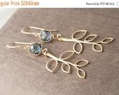 Gold Earrings,Bridal Jewelry,Dangle Earrings,Wedding Earrings,Bridesmaid,Leaf Earrings,Blue Earrings