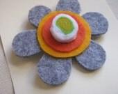 Flower  Felt  Brooch  Orange and Gray