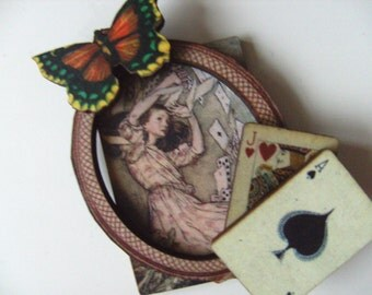 Alice in wonderland,  BROOCH, playing cards, frame, wooden, wood, butterfly, by NewellsJewels on etsy