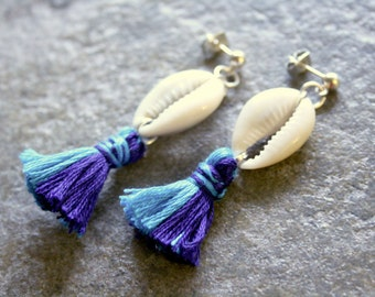 Cowrie Shell Two Toned Tassel Earrings Turquoise Blue