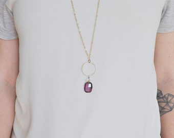 Long Purple Crystal Necklace - long with gold plated chain Amethyst Graphic Pendant ON SALE