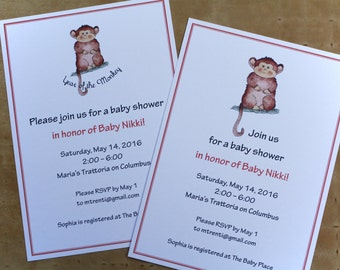 Year of the Monkey 2016, Chinese New Year, Announcements, Shower or Birthday Invitations Custom Personalized