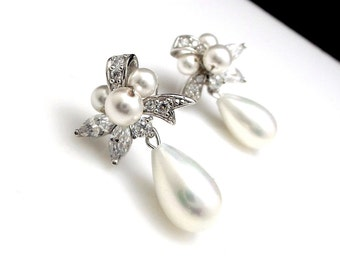 STERLING SILVER- Bridal pearl earrings wedding white teardrop shell pearls with bow style post with cubic zirconia and round pearl cluster