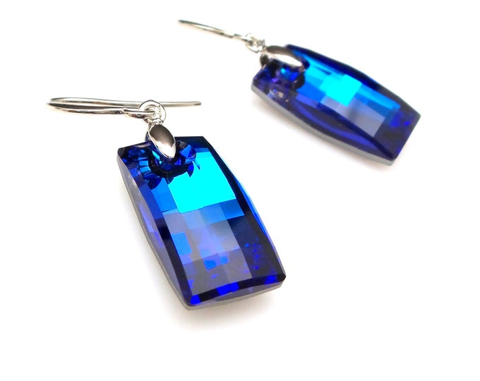 swarovski rectangle modern urban cut bermuda blue crystal drop simple rhodium plated fish hook earrings bridal bridesmaid prom party gift