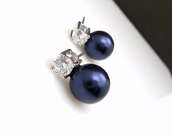 Bridal earrings bridesmaid gift wedding jewelry 10mm swarovski midnight blue navy pearls round solitaire cubic zirconia rhodium earring post