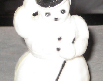 Frosty Wont Melt On Your Tree Vintage Hard Plastic Snowman Ornament