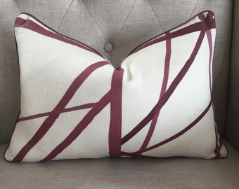 "Kelly Wearstler for Groundworks - Channels print in plum/ivory - 12""X19"" - Pattern on the front"