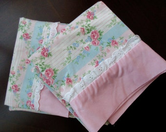pair of cotton standard PILLOWCASES - floral, roses, lace, white, pink and aqua stripes