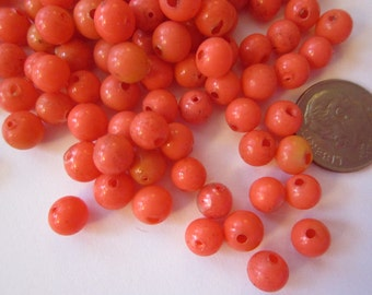 50 rare vintage hollow glass pearls - 5mm round blown glass hollow pearls - orange coral color glass pearls - blown glass beads